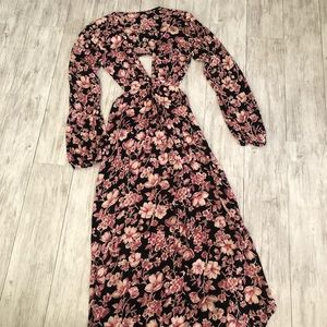 Blue Life Black and Pink Floral Print Maxi